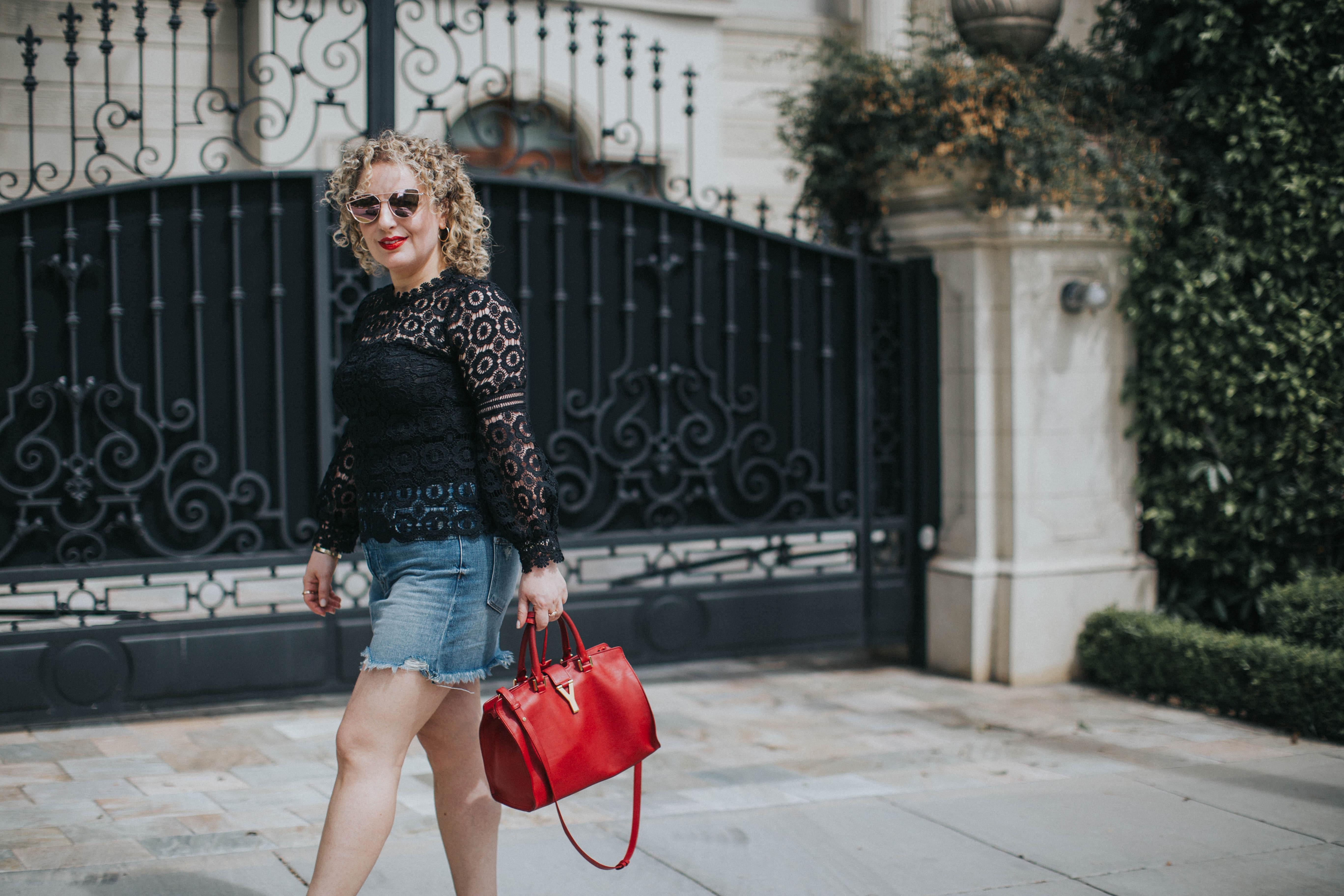 lace top & denim skirt
