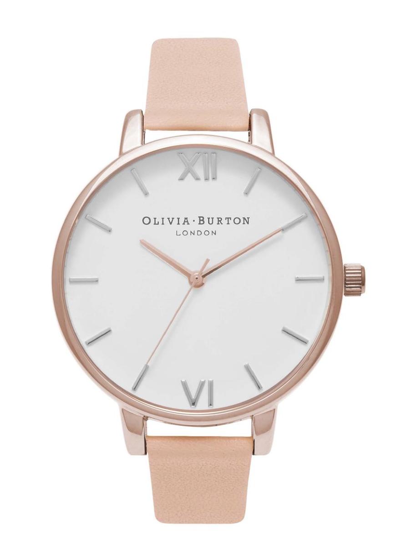 Women's Olivia Burton Big Dial Leather Strap Watch,