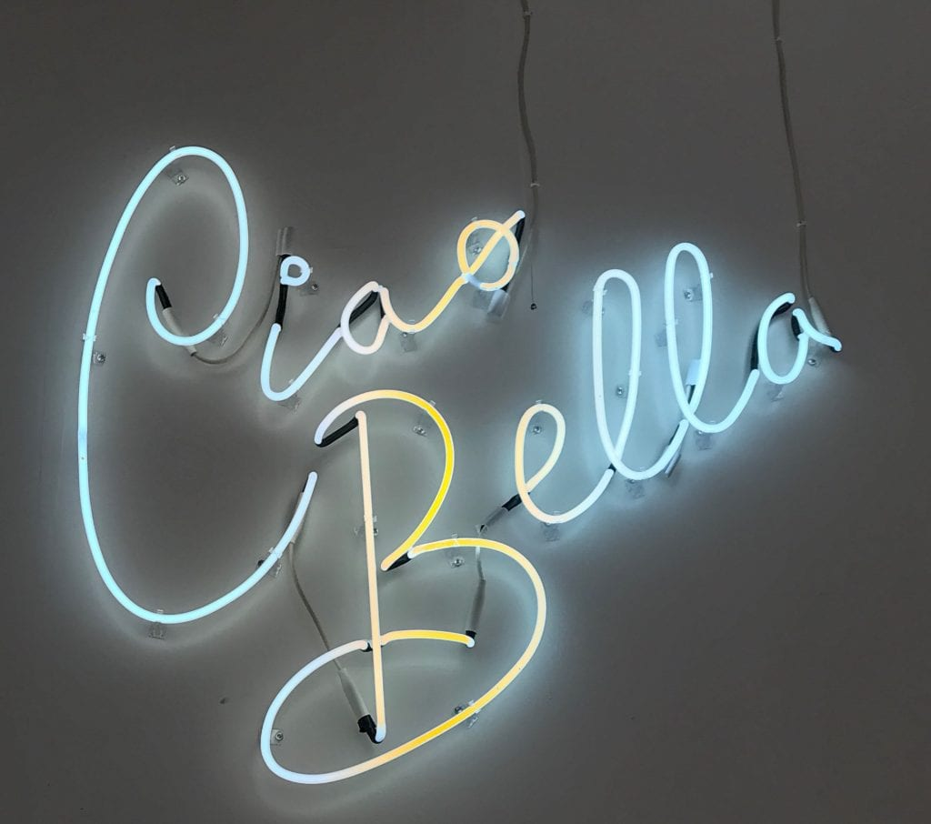 Carrera Cafe, The Best Latte Art Cafe in Los Angeles | Latte Art in Los Angeles by popular Los Angeles blog, Liz in Los Angeles: image of a ciao bella neon sign.