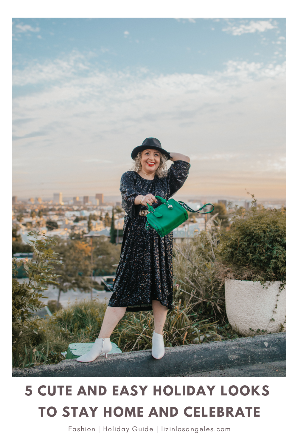 5 Cute and Easy Holiday Looks to Stay Home and Celebrate, a blog post by Liz in Los Angeles, top Los Angeles Lifestyle Blogger, an image of a blonde women in black sequin dress for the holidays