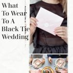 What To Wear To A Black Tie Wedding, A blog post by Liz in Los Angeles, an image of a wedding guest table and invite