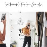 Top 5 Sustainable Fashion Brands in Los Angeles by Liz in Los Angeles, Lifestyle Blogger, an image of a graphic and a blond woman wearing an orange top with jeans