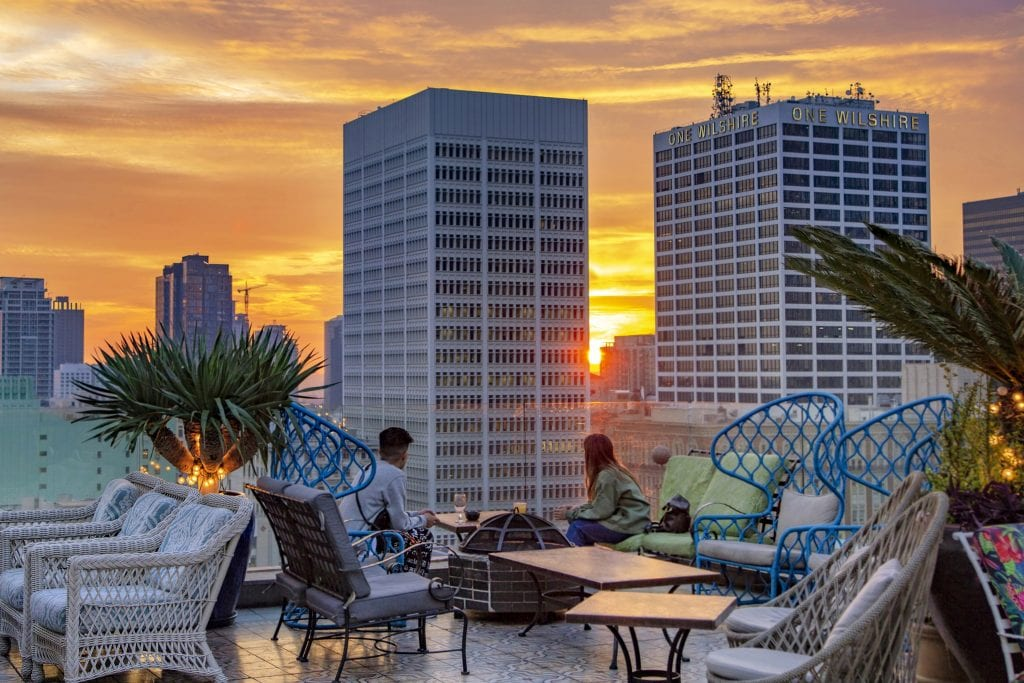 A Walkable Guide to Instaworthy Spots in DTLA by Liz in Los Angeles, Los Angeles Lifestyle Blogger: image of sunset at Perch LA