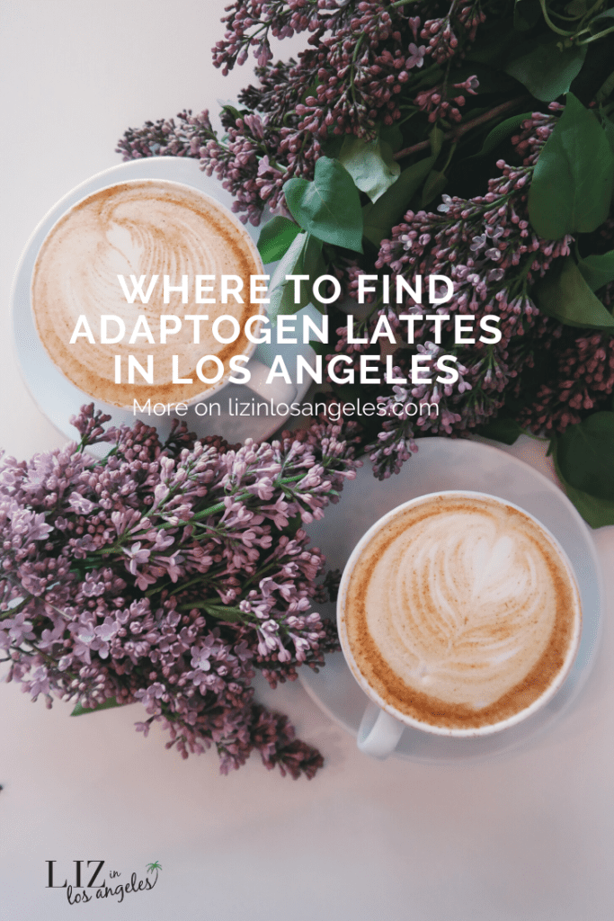 Where to Find Adaptogen Lattes in LA, a blog post by Liz in Los Angeles, Los Angeles Lifestyle Blogger: an image of a latte with lavender next to it