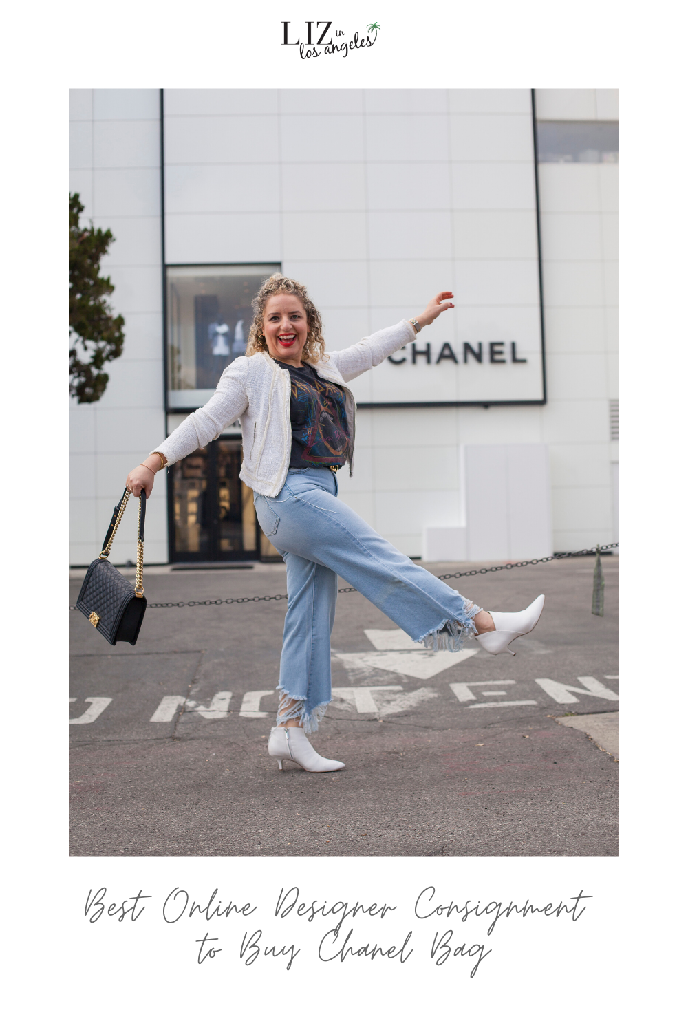 The Best Online Designer Consignment Shops to Buy your Favorite Chanel Bag, a blog post by Liz in Los Angeles, Los Angeles Lifestyle Blogger: an image of a blond woman standing in front of the Chanel store in Beverly Hills