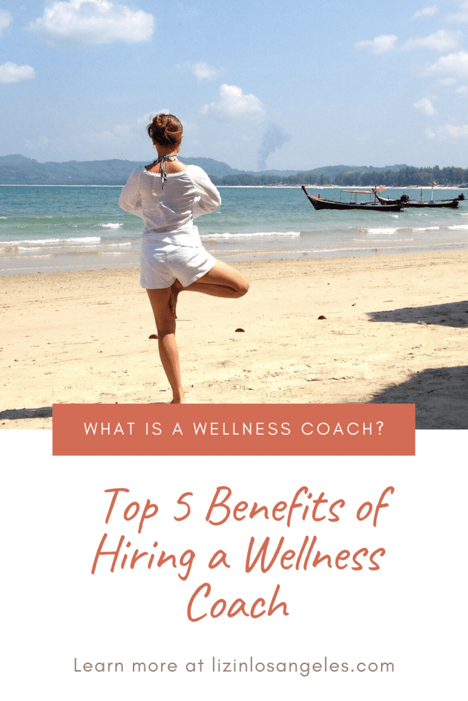 What is a Wellness Coach, a blog post by Liz in Los Angeles, Los Angeles Lifestyle Blogger: an image of a woman doing a yoga pose at the beach