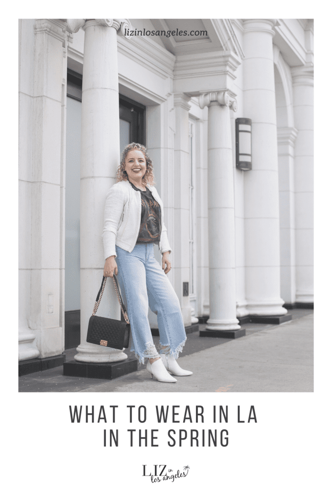 What to Wear in LA in the Spring, a blog post by Liz in Los Angeles, Los Angeles Lifestyle Blogger: an image of a woman in wide leg jeans