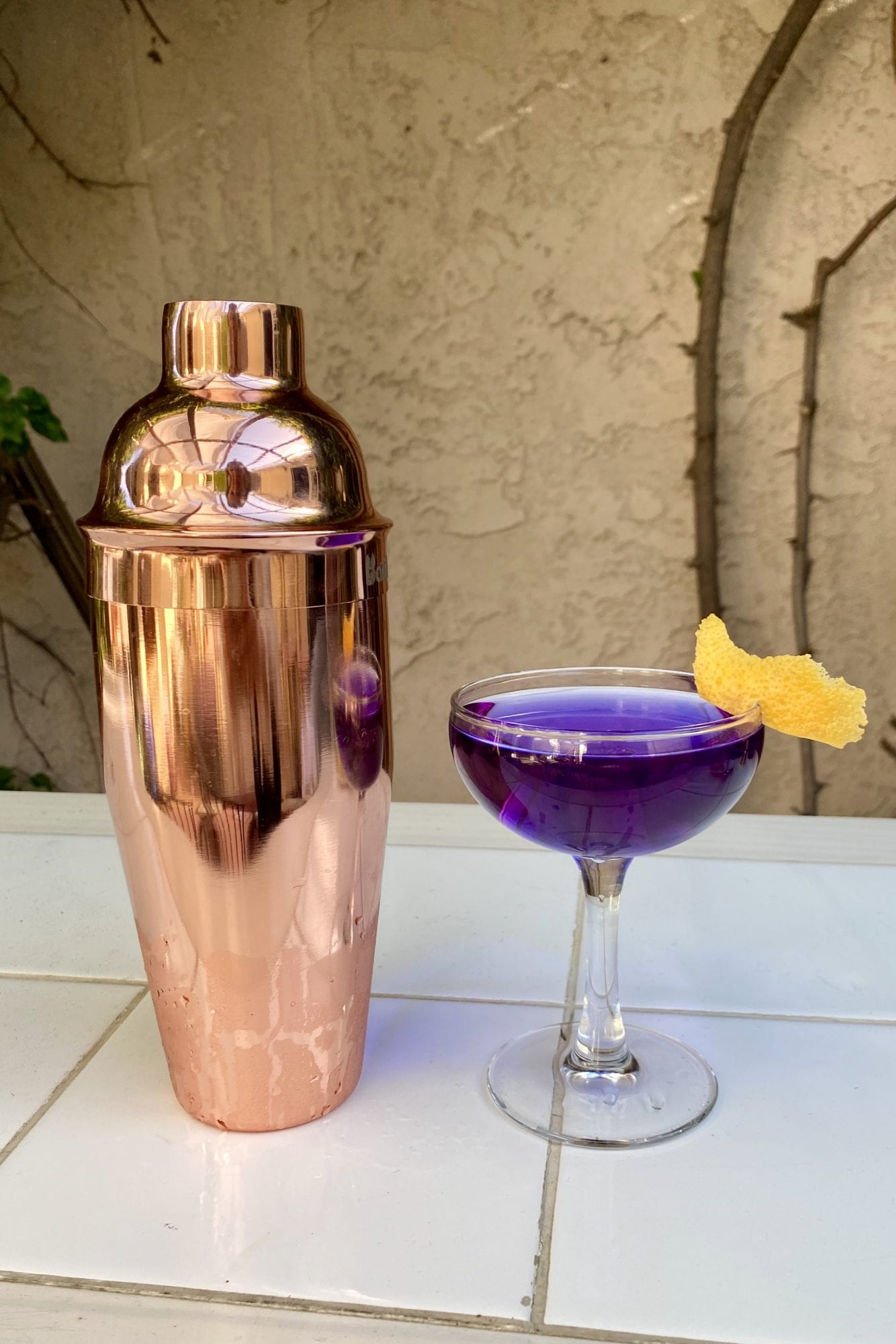 Top 5 Gin Cocktails to Make at Your Next Virtual Happy Hour, a blog post by Liz in Los Angeles, Los Angeles Lifestyle Blogger: an image of a gin cocktail and a cocktail shaker