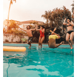 Top 5 Things to Do in LA in July 2020 to Beat the Summer Heat, a blog post by Liz in Los Angeles, Los Angeles Lifestyle Blogger, an image of people at a pool party
