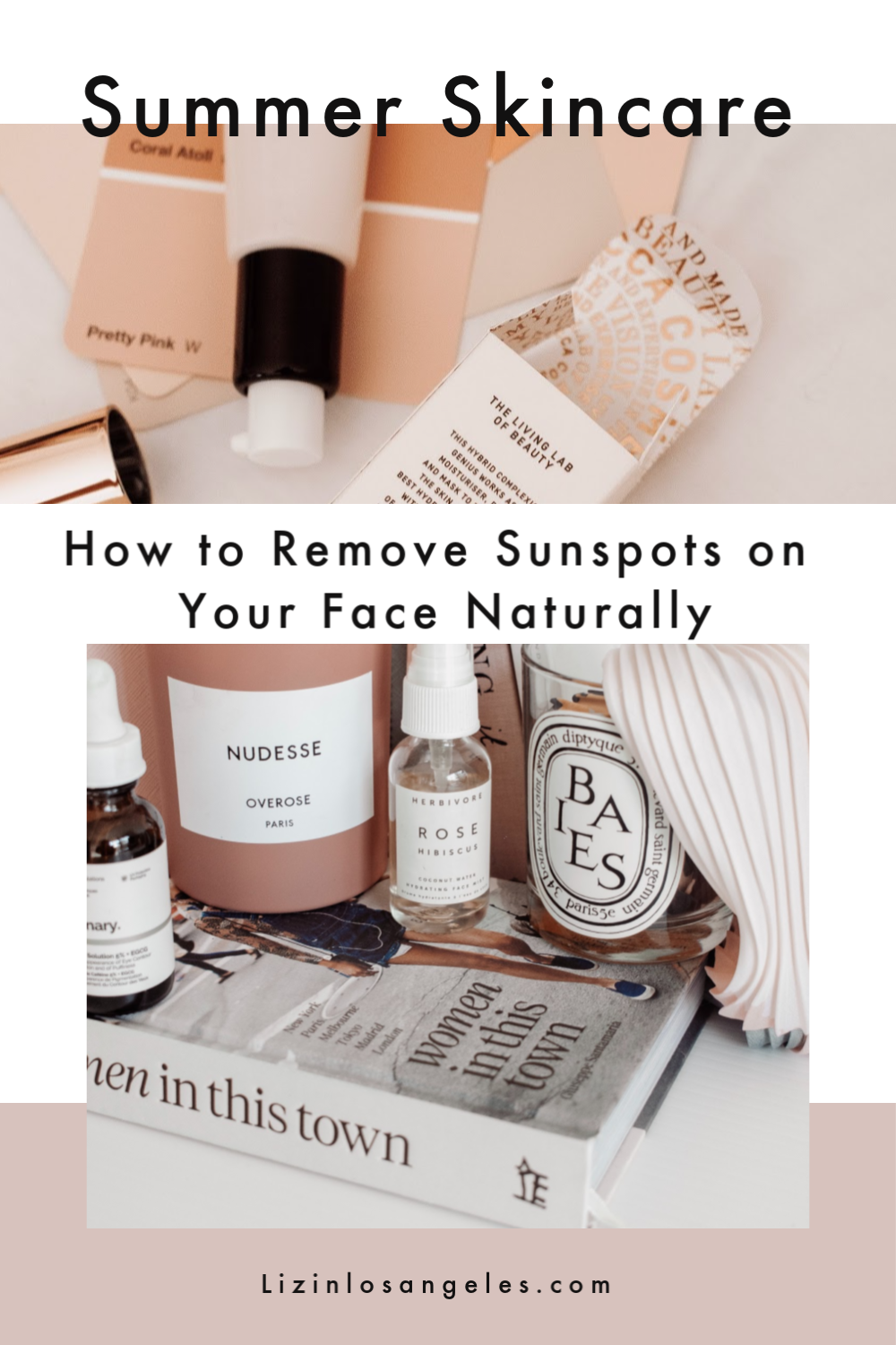 How to Remove Sunspots on Your Face Naturally, a blog post by Liz in Los Angeles, Los Angeles Lifestyle Blogger, an image of skincare products