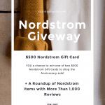 clothing rack with graphic of text about Nordstrom Anniversary Sale