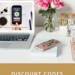 Discount Codes by Liz in Los Angeles, Los Angeles Lifestyle Blogger, an image of a discount code on a laptop