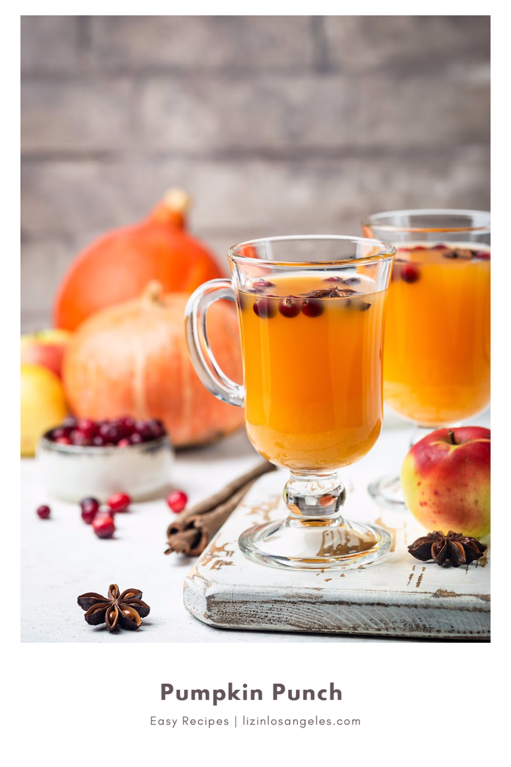Pumpkin Punch Cocktail Recipe, a recipe by Liz in Los Angeles, an image of pumpkin punch, pumpkins and cranberries