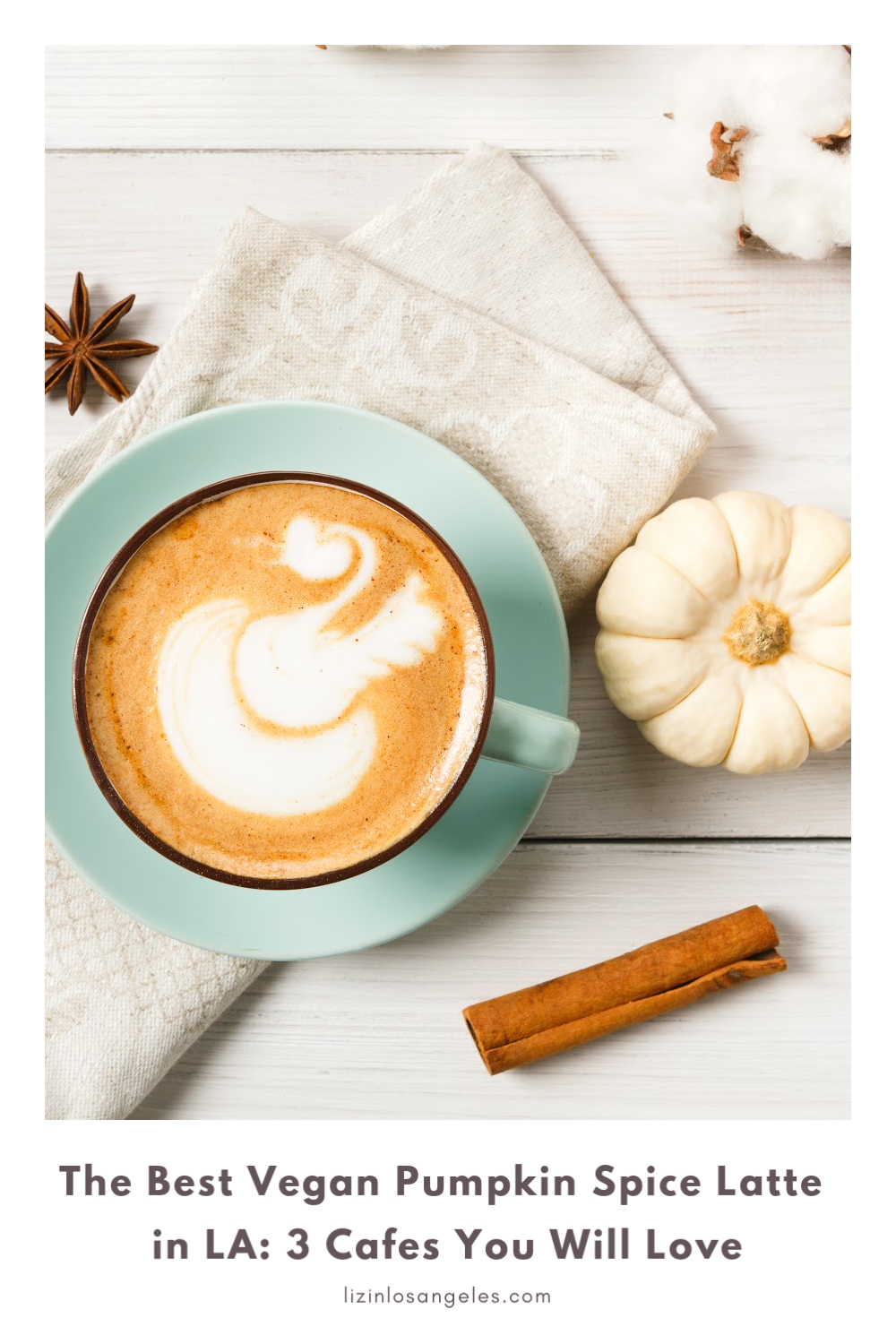 The Best Vegan Pumpkin Spice Latte in LA: 3 Cafes You Will Love, a blog post by Liz in Los Angeles, top Los Angeles lifestyle blogger, an image of pumpkin spice latte and a white pumpkin