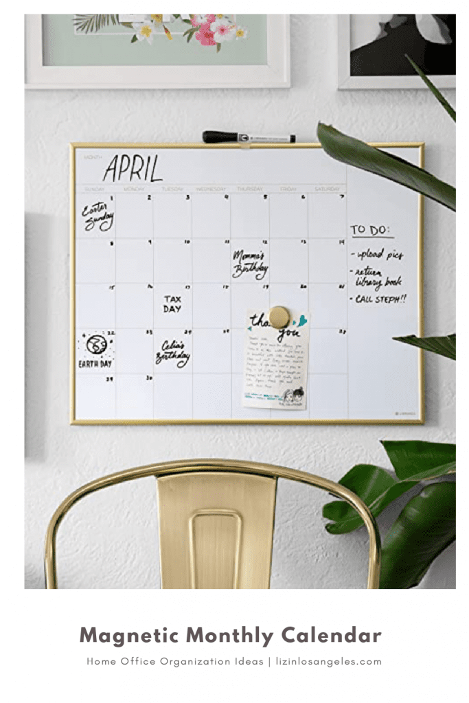 Home Office Organization Ideas: 5 Essentials You'll Need, a blog post by Liz in Los Angeles, top Los Angeles lifestyle blogger: an image of a monthly calendar