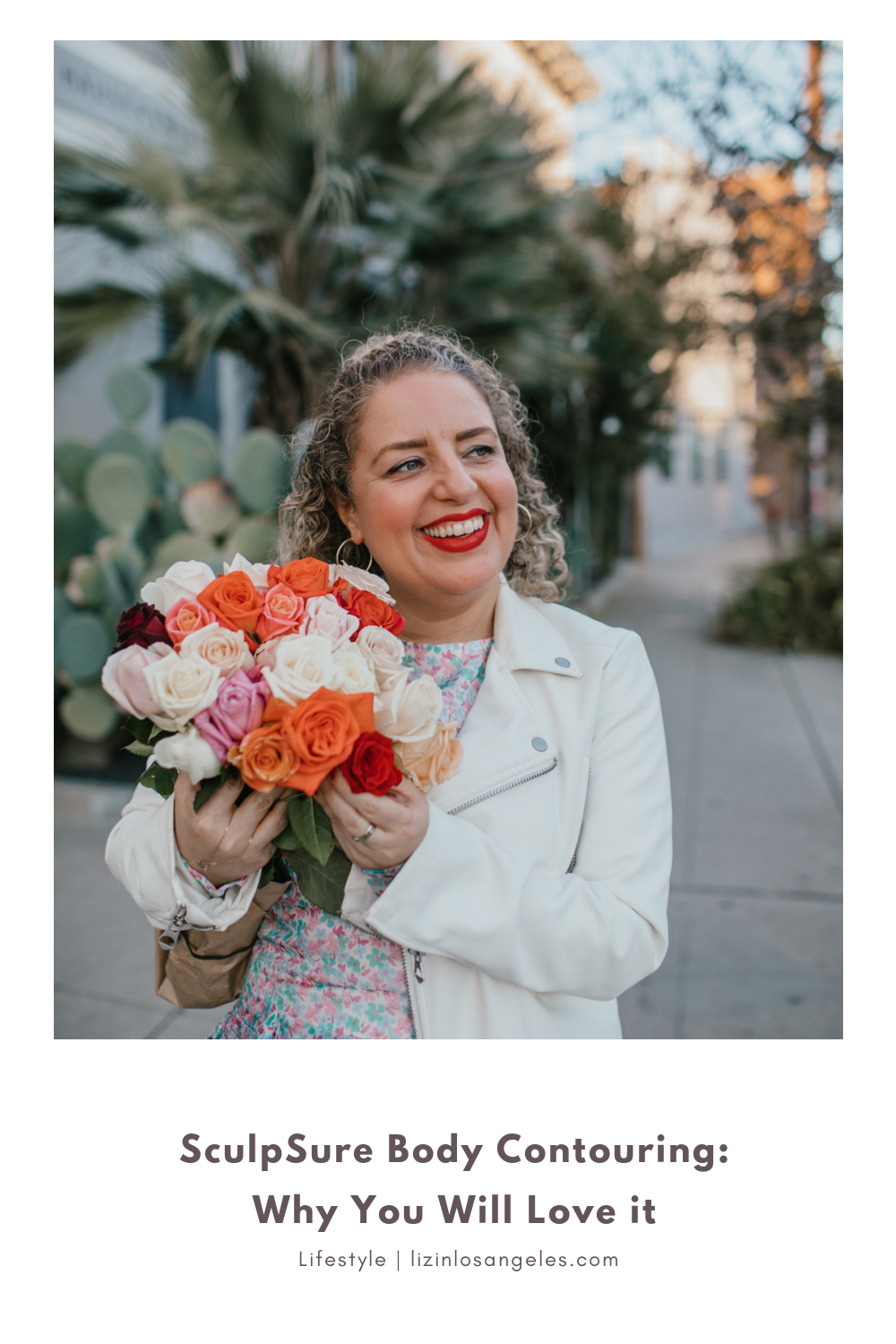 SculpSure Body Contouring Review by Liz in Los Angeles, Los Angeles Lifestyle Blogger, an image of a blonde women holding flowers after a face treatment